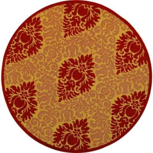 Safavieh Courtyard Natural/Red 5 ft. x 5 ft. Indoor/Outdoor Round Area Rug