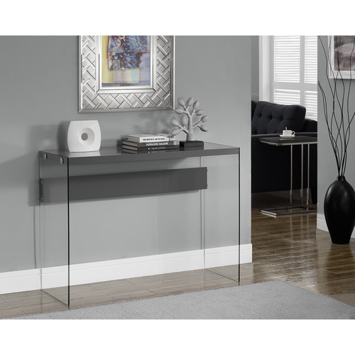 Monarch Specialties CONSOLE TABLE - GLOSSY GREY WITH TEMPERED GLASS