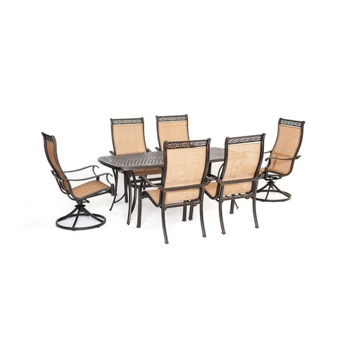Agio Somerset 7-Piece Aluminum Rectangular Outdoor Dining Set with 2 Swivels and Cast-Top Table