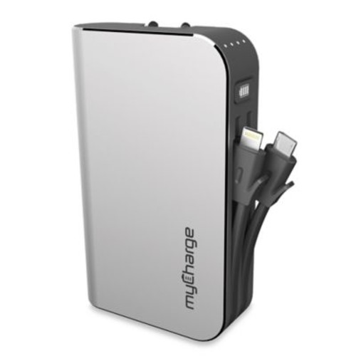 myCharge HubPlus 6000mAh Portable Charger in Silver