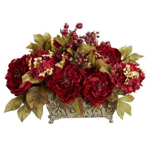 Peony & Hydrangea Flower Arrangement by NearlyNatural
