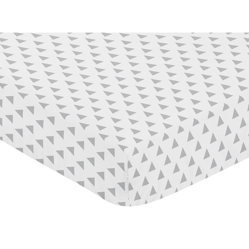 Sweet Jojo Designs Coral and Mint Mod Arrow Grey Triangle Print Fitted Crib Sheet - Grey and White