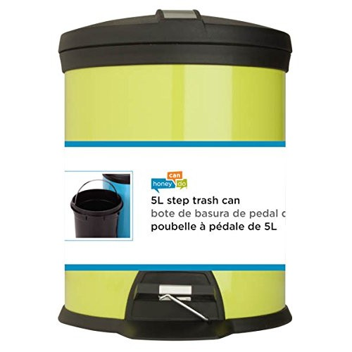 Honey-Can-Do TRS-02071 Stainless Steel Step Trash Can with Liner, Lime, 5-Liter/1.3-Gallon [Lime Green, 5-Liter; 1.3-Gal]