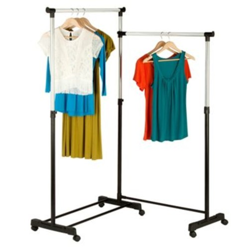 Honey-Can-Do Rotatable Double Garment Rack in Chrome/Black