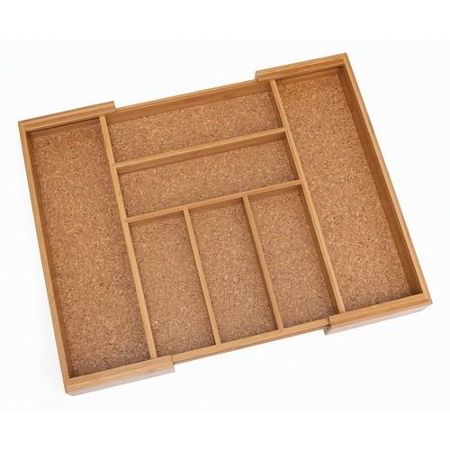 Lipper Bamboo & Cork Expandable Flatware Organizer