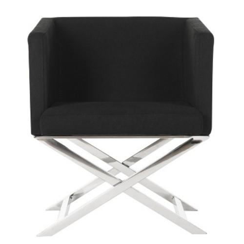 Upholstered Chair Black Chrome - Safavieh