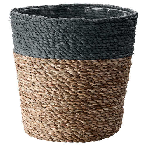 KRUSBR Plant pot, gray, natural