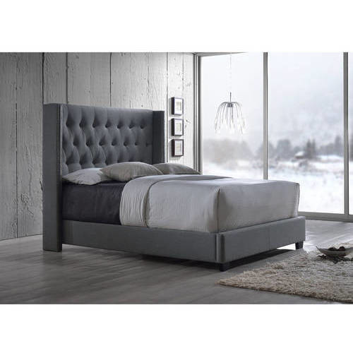 Katherine Contemporary Espresso Fabric Nail head Trim Wingback Bed - King Grey