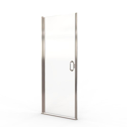 Basco Infinity 28 in. x 72 in. Semi-Frameless Hinged Shower Door in Silver with AquaGlideXP Clear Glass