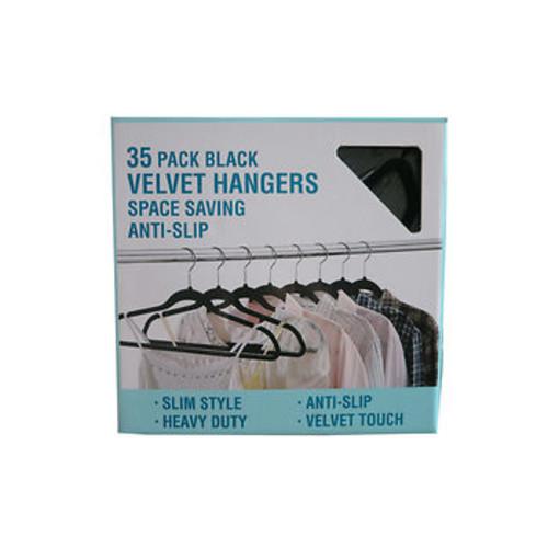 Velvet Space-Saving Hangers, 35 pk. - Black