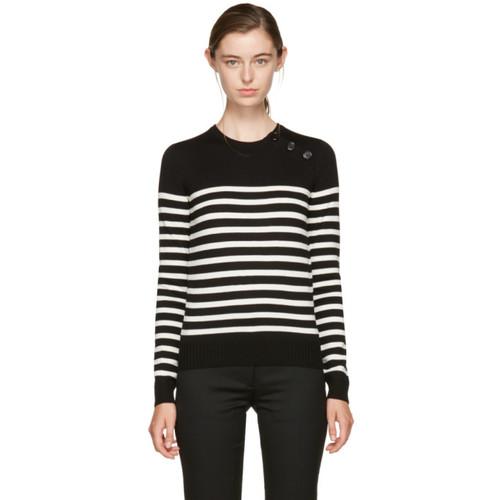 SAINT LAURENT Black & Ivory Striped Marinière Sweater