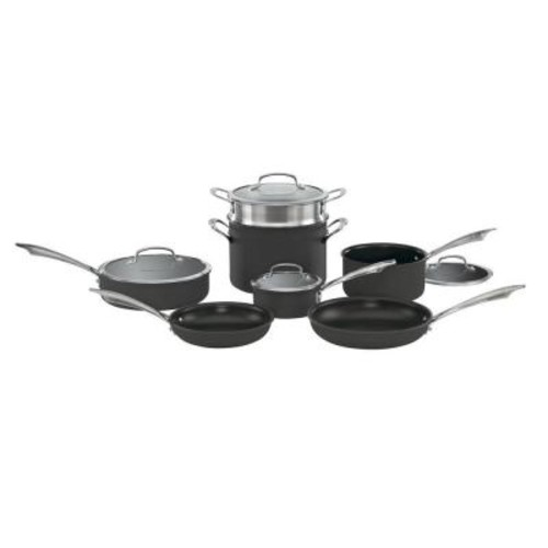 Cuisinart 11-Piece Black Cookware Set with Lids