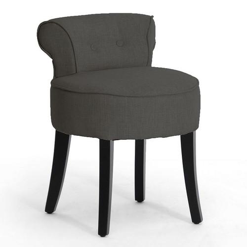 Baxton Studio Millani Gray Linen Modern Lounge Stool [Grey]
