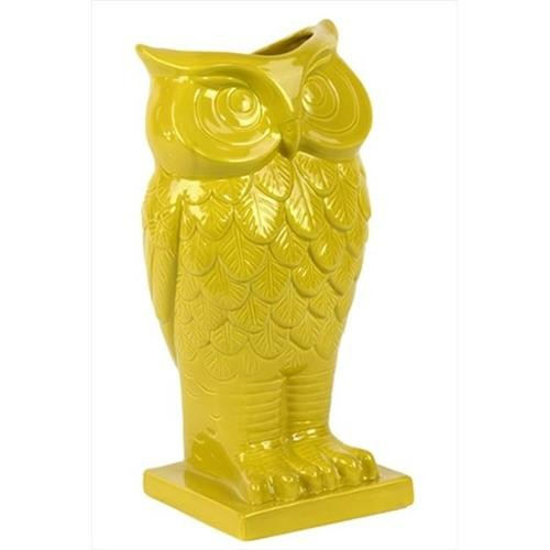 Urban Trends Collection 73072 13. 5 inch H Ceramic Owl Vase Yellow