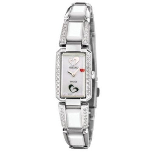 Seiko Watch, Women's Solar White Ceramic and Stainless Steel Bracelet 16mm SUP185 - American Heart Association