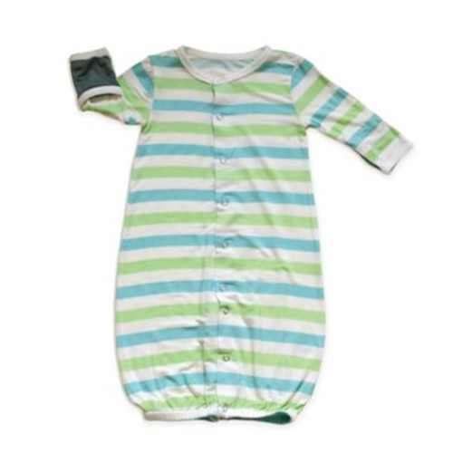 Silkberry Baby Stripe Convertible Gown in Blue/Green