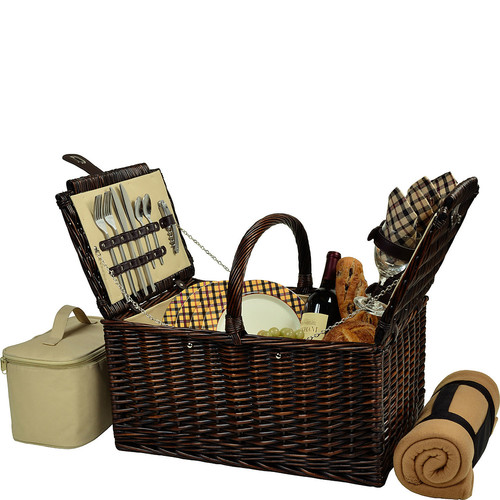 Picnic at Ascot Buckingham Willow Picnic Basket with Service for 4 with Blanket- London Plaid [Brown Wicker- London Plaid Plates/Napkins]