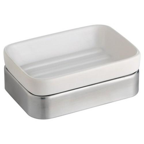 Gia Ceramic Soap Dish White/Brushed - InterDesign