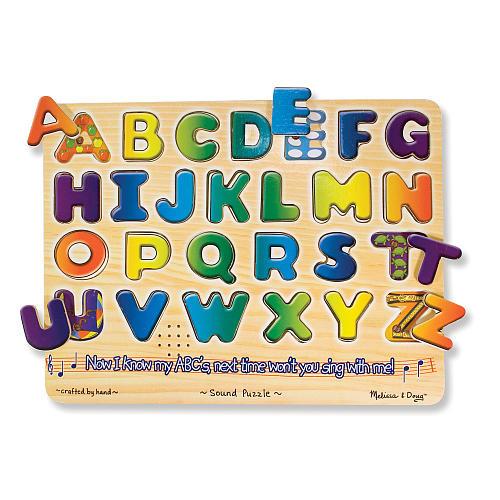 Melissa & Doug Alphabet Sound Puzzle - Wooden Peg Puzzle With Sound Effects (26 pieces)