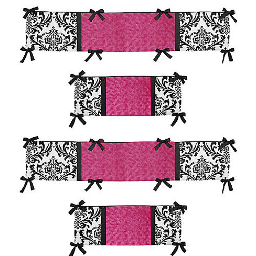 Sweet Jojo Designs Isabella Crib Bumper in Hot Pink/Black/White