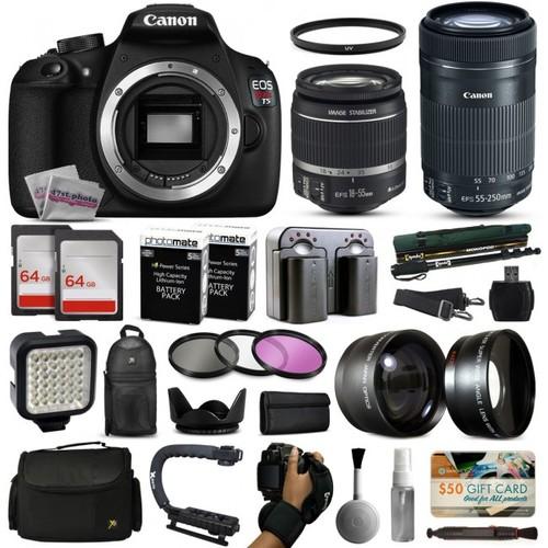 Canon T5 DSLR Camera w/ 18-55mm IS II + 55-250mm STM Lens + Premium 128GB Kit