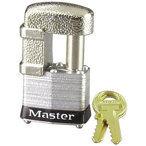 Master Lock 37D Shrouded Laminated Steel Pin Tumbler Padlock, Keyed Different, 1-9/16-Inch Wide Body, Shackle Fits 9/32-Inch Or 1/2-Inch Diameter [Satin Chrome]