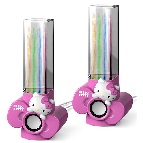 Hello Kitty USB-Powered Water Dancing Speakers with Aux Input - Pink