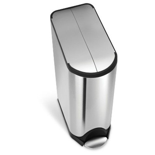 simplehuman 45 Liter Butterfly Step Trash Can - Brushed Stainless
