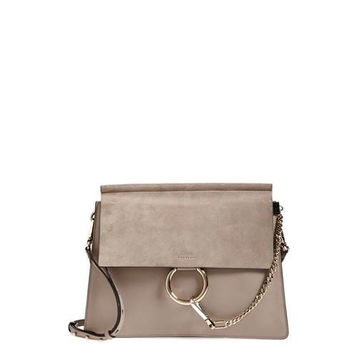 'Medium Faye' Leather & Suede Shoulder Bag