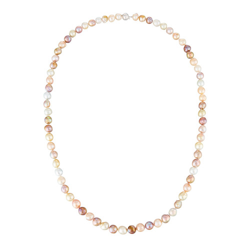 Belpearl 14k Long Multicolor Baroque Freshwater Pearl Necklace, 12-10mm, 35
