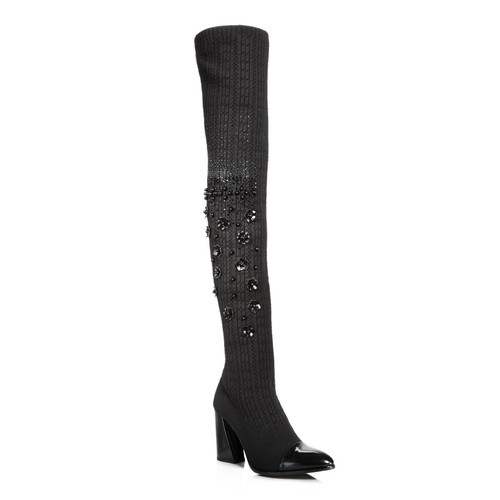 STUART WEITZMAN Women'S Longlegs Embellished Knit & Leather Over-The-Knee Boots