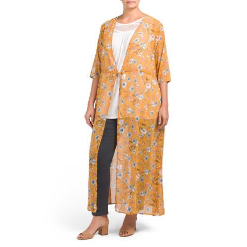 LOVE FIRE Plus Juniors Floral Maxi Kimono