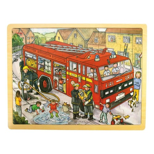 Bigjigs Toys Wooden Fire Engine Tray Puzzle 24 Piece Set