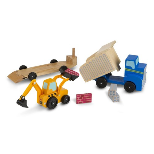 Melissa & Doug Dump Truck and Loader Wooden Classic Vehicle Set