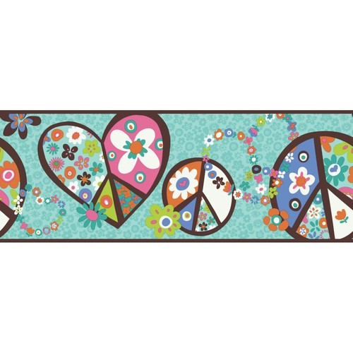 Inspired By Color Kids Peace Sign Border, Teal With Brown Band