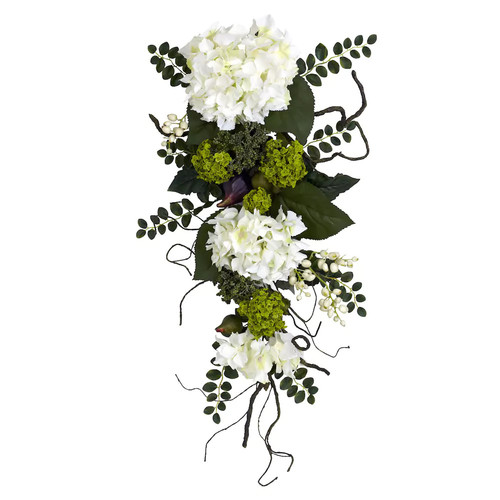 nearly natural 28-in. Silk Hydrangea Teardrop Floral Arrangement