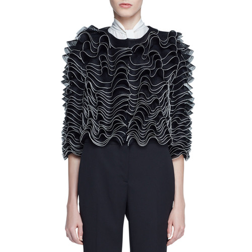 ALEXANDER MCQUEEN Ruffled Knit Cardigan, Black