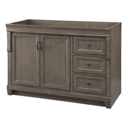 Home Decorators Collection Naples 48 in. W Bath Vanity Cabinet Only in Distressed Grey with Right Hand Drawers