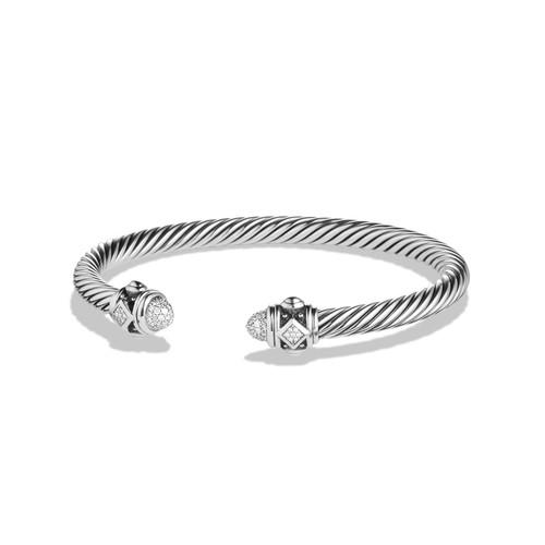 5mm Renaissance Sterling Silver Bracelet w/White Diamonds