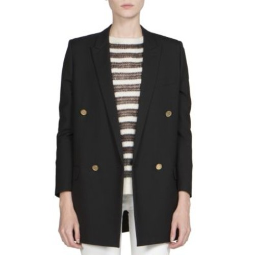 SAINT LAURENT Goldtone-Button Double-Breasted Wool Blazer