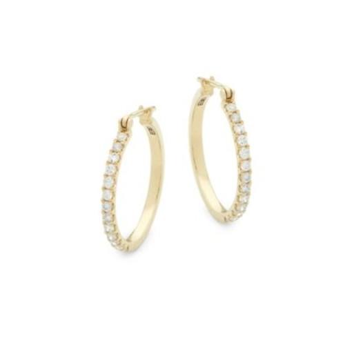 Effy - 14K Yellow Gold & Diamond Hoop Earrings
