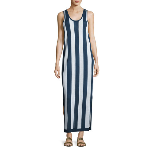 DIANE VON FURSTENBERG Sleeveless Striped Maxi Coverup Dress, Navy/White
