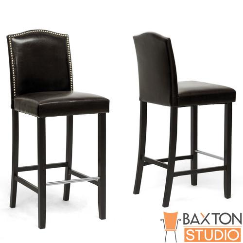 Baxton Studio Libra Dark Brown Modern Bar Stool with Nail Head Trim-set of 2