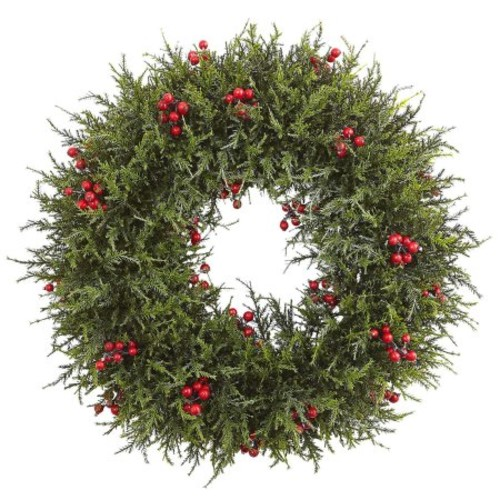 Nearly Natural 20 in. Cedar Berry Wreath