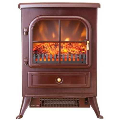 AKDY 15 in. Freestanding Electric Fireplace Stove Heater in Red with Vintage Glass Door, Realistic Flame and Logs
