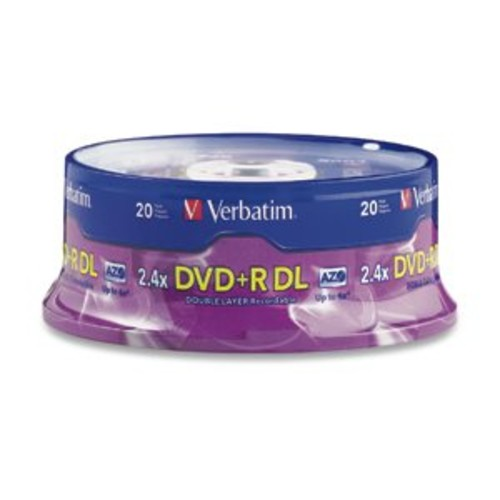 Verbatim DVD+R DL AZO 8.5GB 8x-10x Branded Double Layer Recordable Disc, 20-Disc Spindle 95310 [20-Disc]