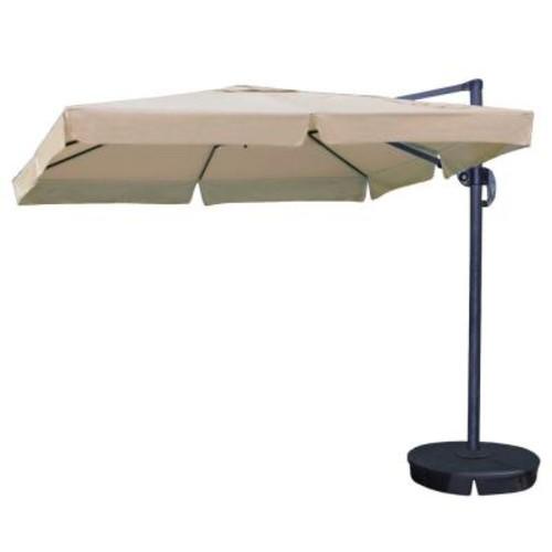 Island Umbrella Santorini II 10 ft. Square Cantilever with Valance Patio Umbrella in Beige Sunbrella Acrylic