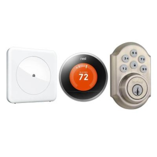 Wink Smart Home Peace of Mind Kit with Wink Hub, Kwikset SmartCode 910 Deadbolt and Nest Learning Thermostat
