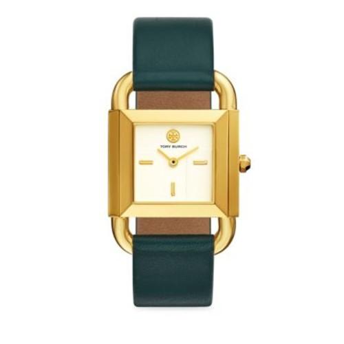 The Phipps Geometric Leather-Strap Quartz Watch