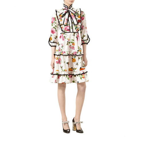 GUCCI Rose-Print Cotton Poplin Ruffled Dress, Ivory